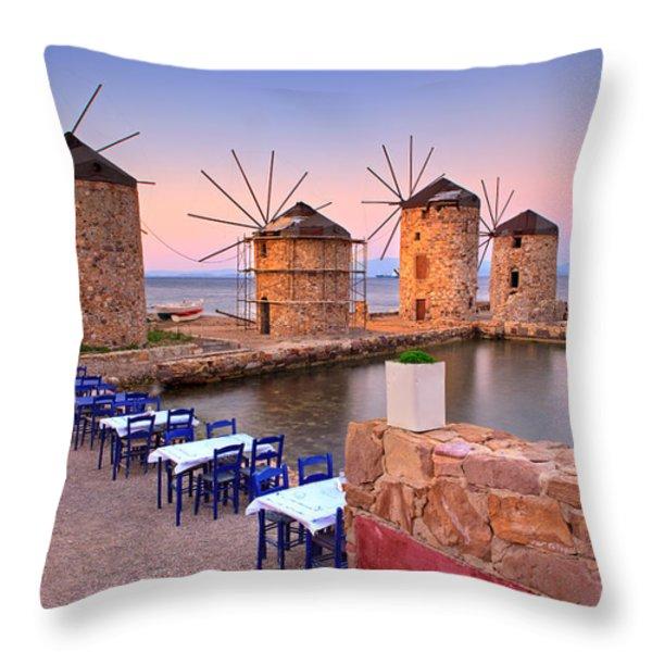 Windmills 2  Throw Pillow by Emmanuel Panagiotakis