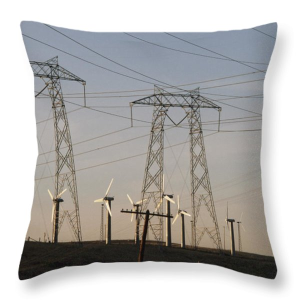 Windmills At A Electricity Producing Throw Pillow by Paul Chesley