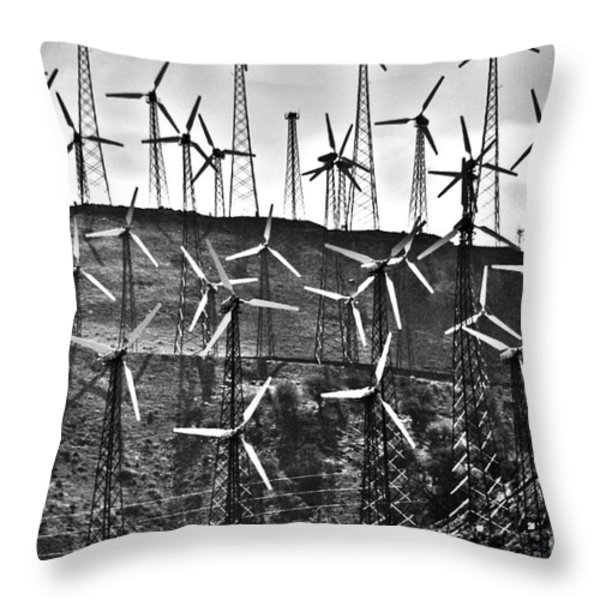 Windmills by Tehachapi  Throw Pillow by Susanne Van Hulst