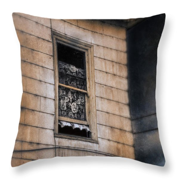 Window In Old House Stormy Sky Throw Pillow by Jill Battaglia
