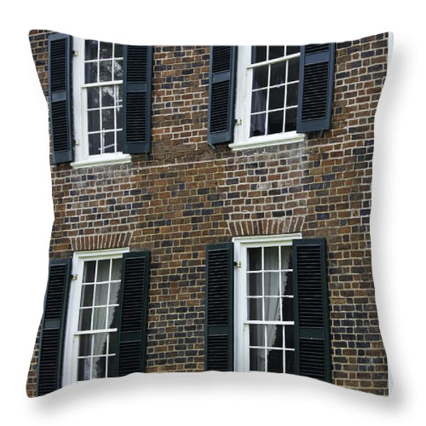 Windows At The Clover Hill Tavern Appomattox Virginia Throw Pillow by Teresa Mucha