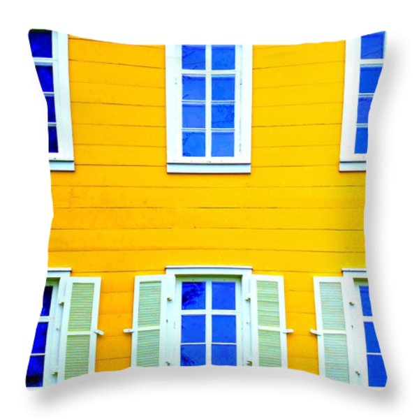 Windows On Yellow Throw Pillow by Randall Weidner