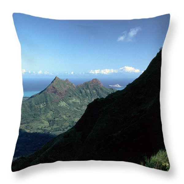 Windward Oahu From The Koolau Mountains Throw Pillow by Thomas R Fletcher