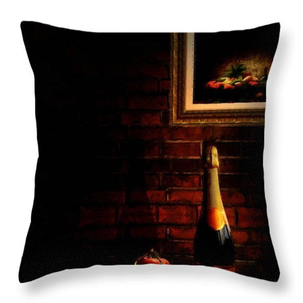 Wine and Grape Throw Pillow by Lourry Legarde