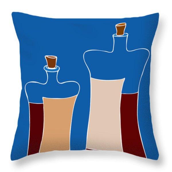 Wine Bottles Throw Pillow by Frank Tschakert