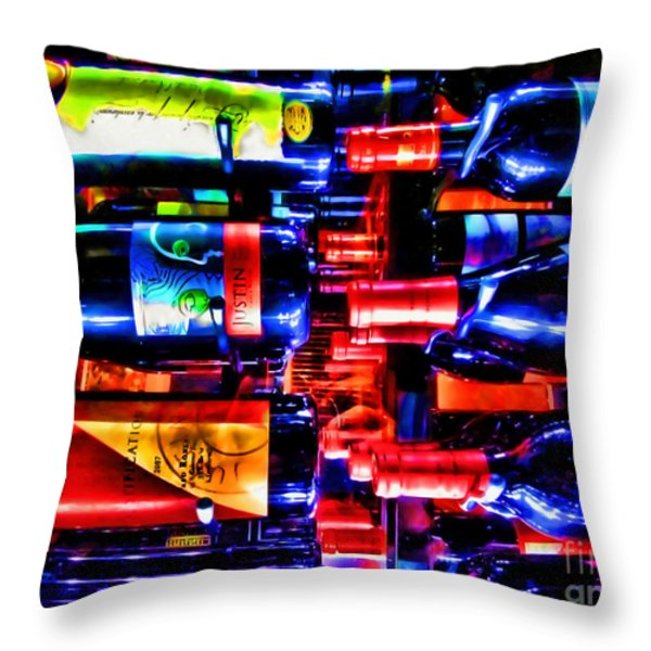 Wine Bottles Throw Pillow by Joan  Minchak