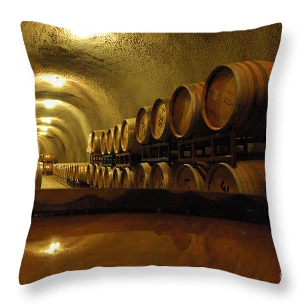 Wine Cellar Throw Pillow by Micah May
