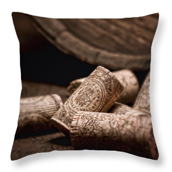 Wine Corks And Barrel Still Life Throw Pillow by Tom Mc Nemar