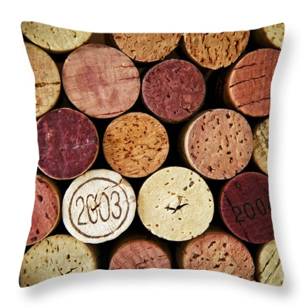 Wine Corks Throw Pillow by Elena Elisseeva