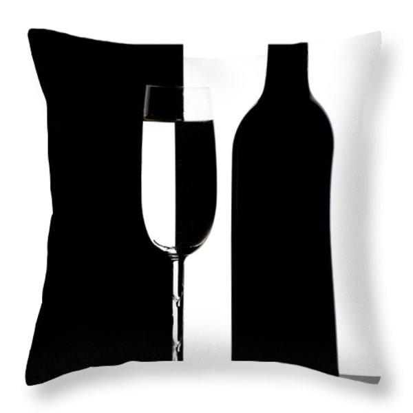 Wine Silhouette Throw Pillow by Tom Mc Nemar