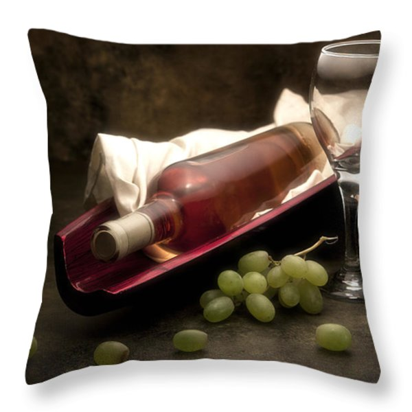 Wine With Grapes And Glass Still Life Throw Pillow by Tom Mc Nemar