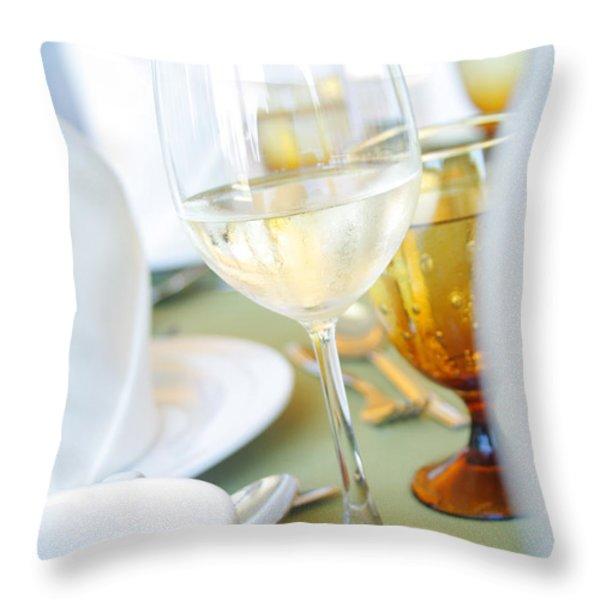 Wineglass Throw Pillow by Atiketta Sangasaeng