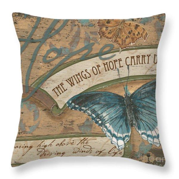 Wings of Hope Throw Pillow by Debbie DeWitt
