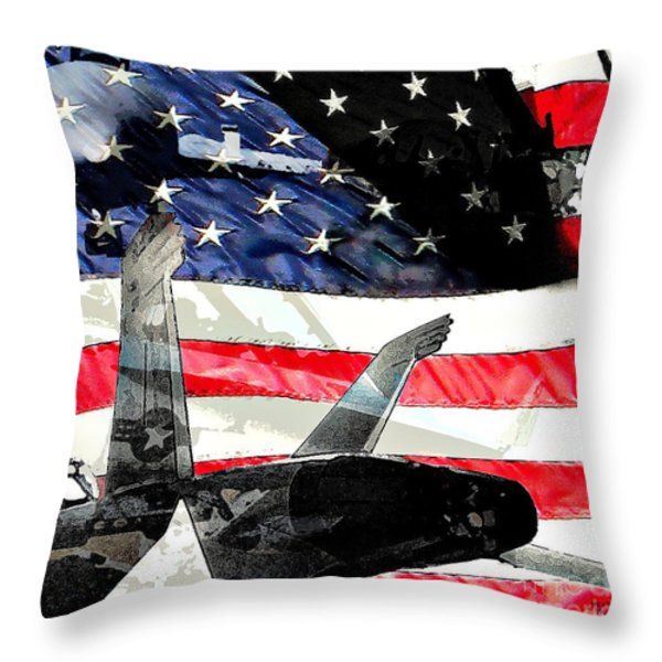 Wings Of Stars And Stripes Throw Pillow by David L Thomas