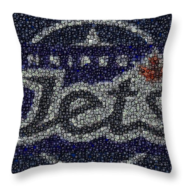 Winnipeg Jets Puck Mosaic Throw Pillow by Paul Van Scott