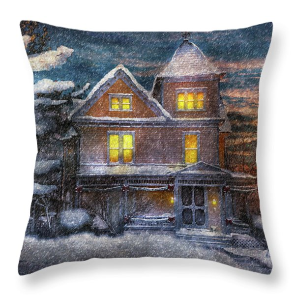 Winter - Clinton NJ - A Victorian Christmas  Throw Pillow by Mike Savad