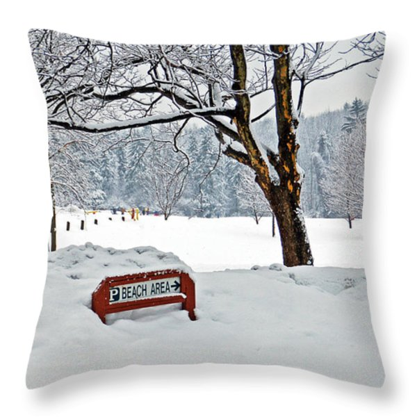Winter Beach Sign Throw Pillow by Aimee L Maher Photography and Art