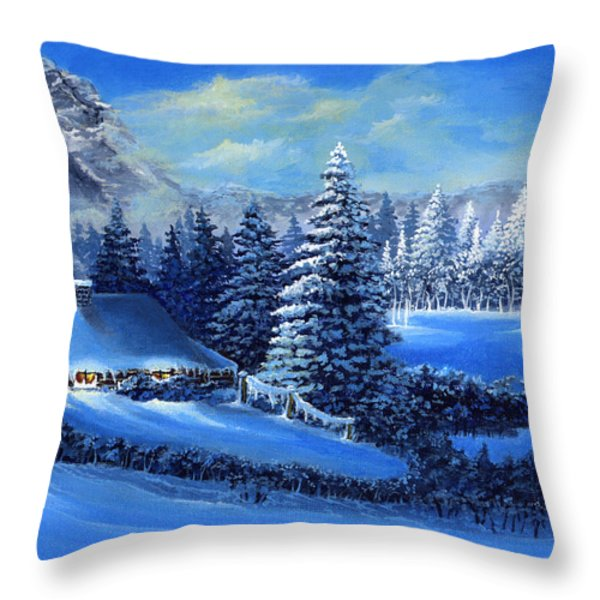 Winter Cabin Throw Pillow by Bonnie Cook