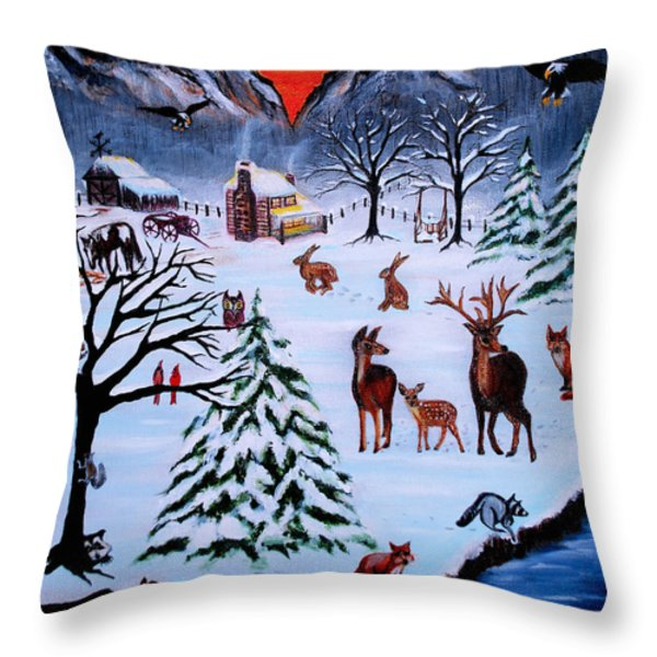 Winter Gathering Throw Pillow by Adele Moscaritolo