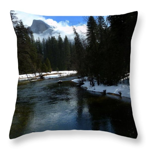 Winter Half Dome And The Merced River Throw Pillow by Jeff Lowe