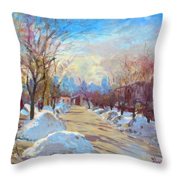 Winter In Silverado Dr Mississauga On Throw Pillow by Ylli Haruni