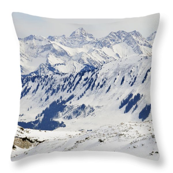 Winter in the alps - snow covered mountains Throw Pillow by Matthias Hauser
