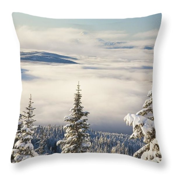 Winter Landscape With Clouds And Throw Pillow by Craig Tuttle