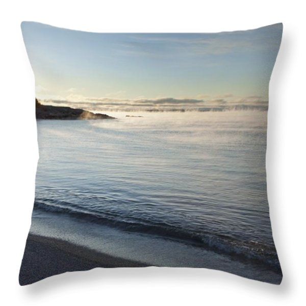 Winter Mist On Lake Superior At Sunrise Throw Pillow by Susan Dykstra