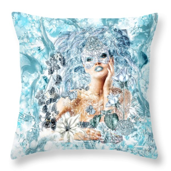 Winter Throw Pillow by Mo T