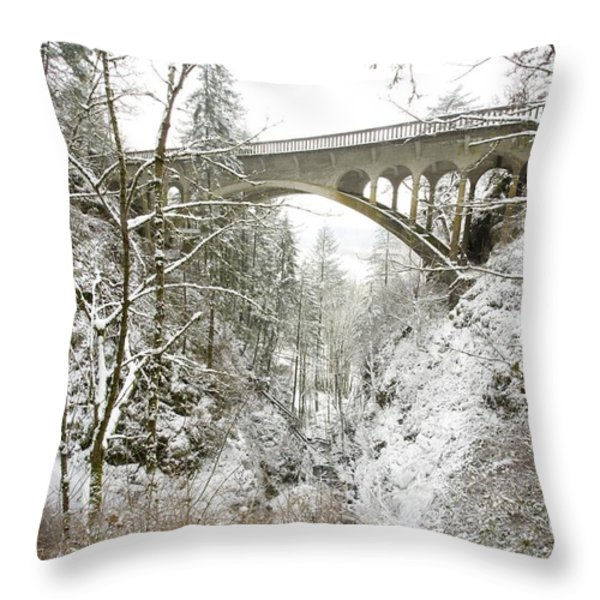 Winter, Shepperds Dell, Columbia River Throw Pillow by Craig Tuttle