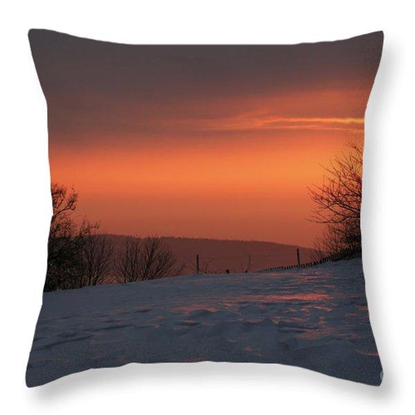 winter sunset Throw Pillow by Michal Boubin