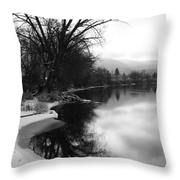 Winter Tree Reflection - Black and White Throw Pillow by Carol Groenen