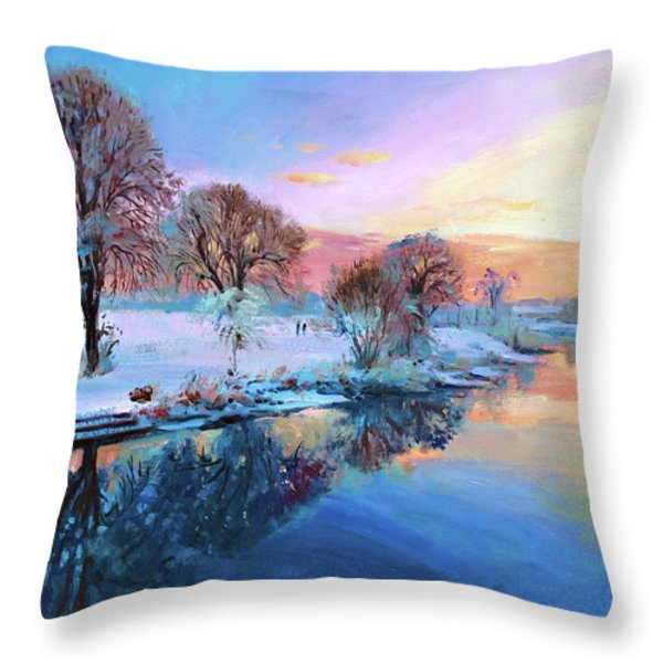 Winter Trees Throw Pillow by Conor McGuire
