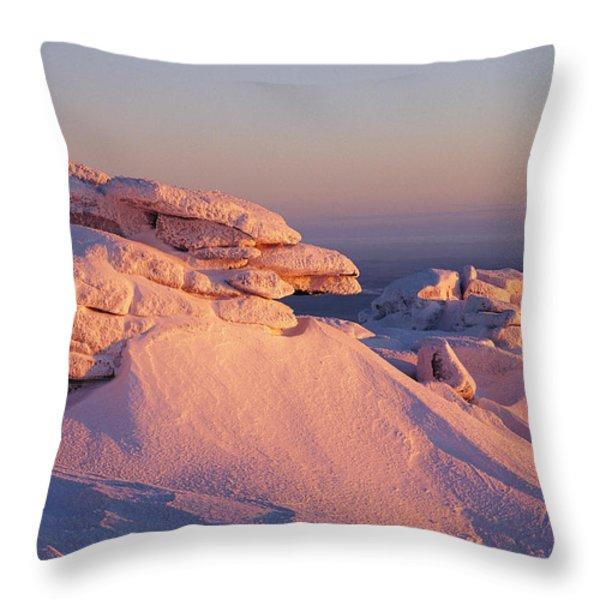 Winter View Of The Top Of Brocken Throw Pillow by Norbert Rosing