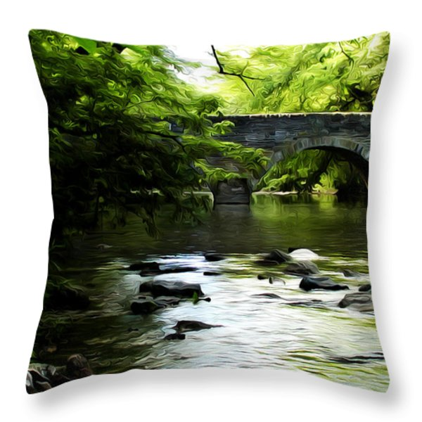 Wissahickon Bridge Throw Pillow by Bill Cannon