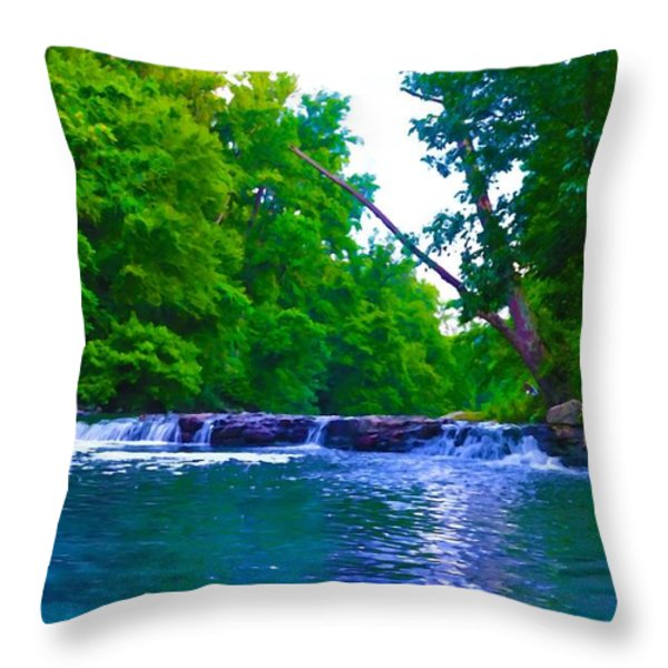 Wissahickon Waterfall Throw Pillow by Bill Cannon