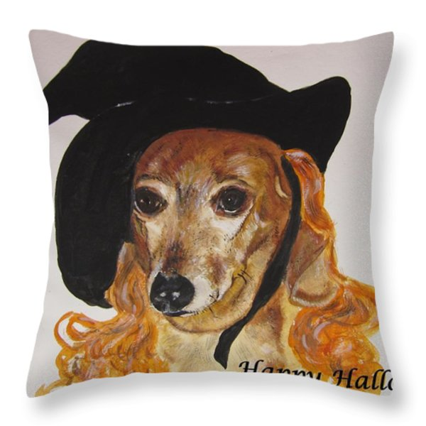 Witchy Woman Throw Pillow by Carol Blackhurst