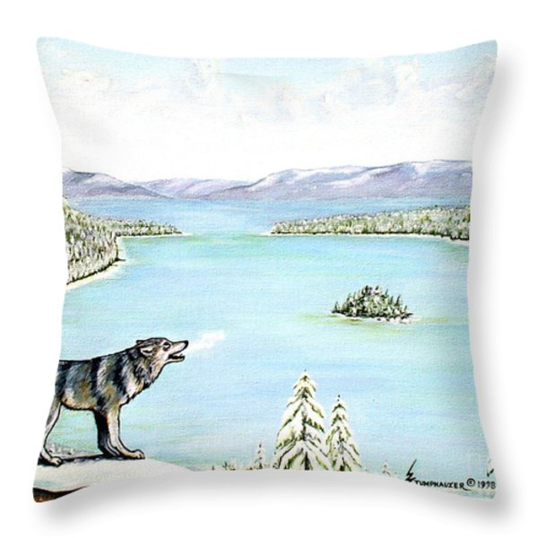 Wolf At Lake Tahoe Throw Pillow by Jerome Stumphauzer