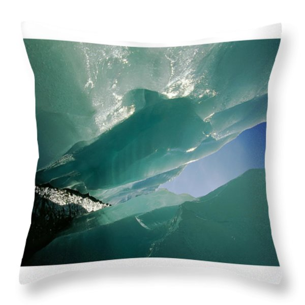 Wolf Creek Flows Through Perennial Ice Throw Pillow by Raymond Gehman