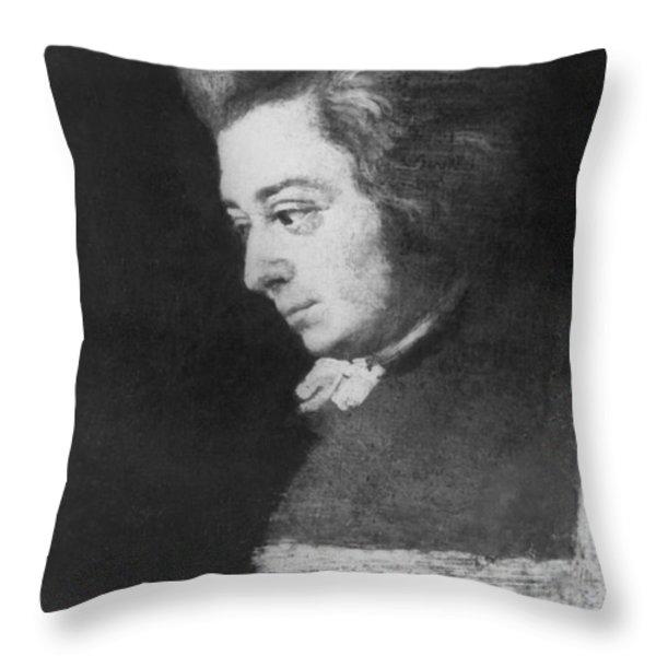 Wolfgang Amadeus Mozart, Austrian Throw Pillow by Omikron