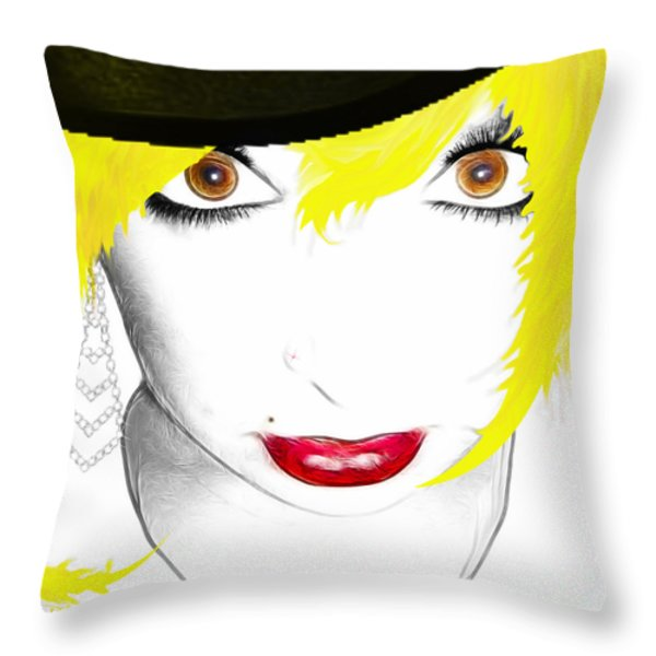 Woman 13-2 cropped square Throw Pillow by Cheryl Young