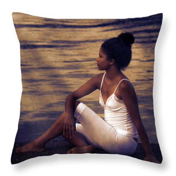 woman at a lake Throw Pillow by Joana Kruse