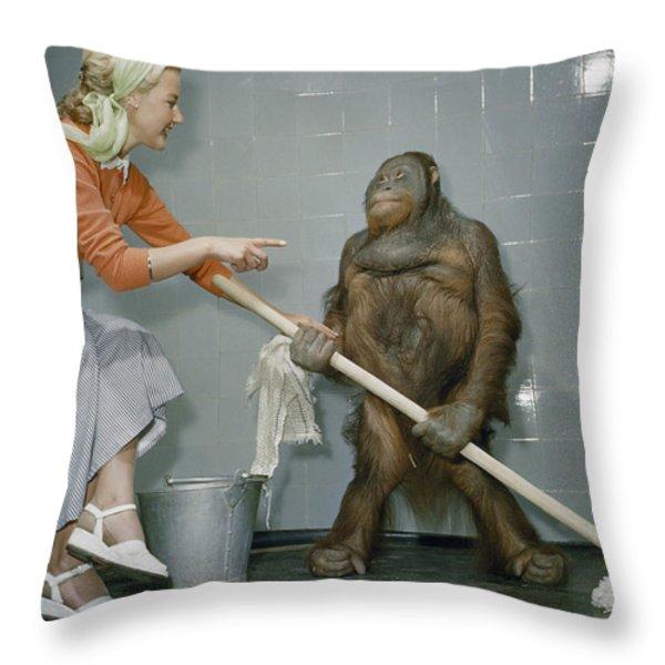 Woman Communicates With Orangutan Throw Pillow by B. A. Stewart And David S. Boyer