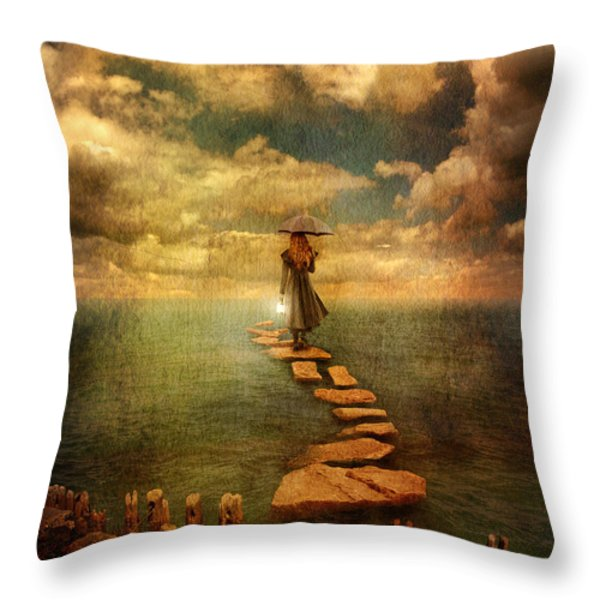 Woman Crossing the Sea on Stepping Stones Throw Pillow by Jill Battaglia