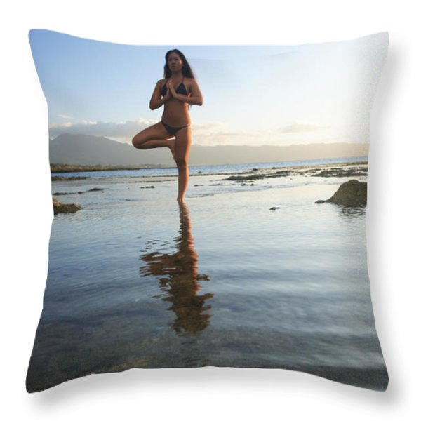 Woman doing Yoga Throw Pillow by Brandon Tabiolo - Printscapes