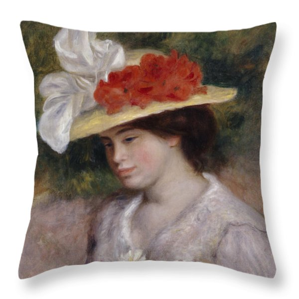 Woman In A Flowered Hat Throw Pillow by Pierre Auguste Renoir