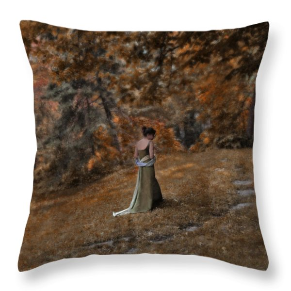 Woman in Green Gown  Throw Pillow by Jill Battaglia