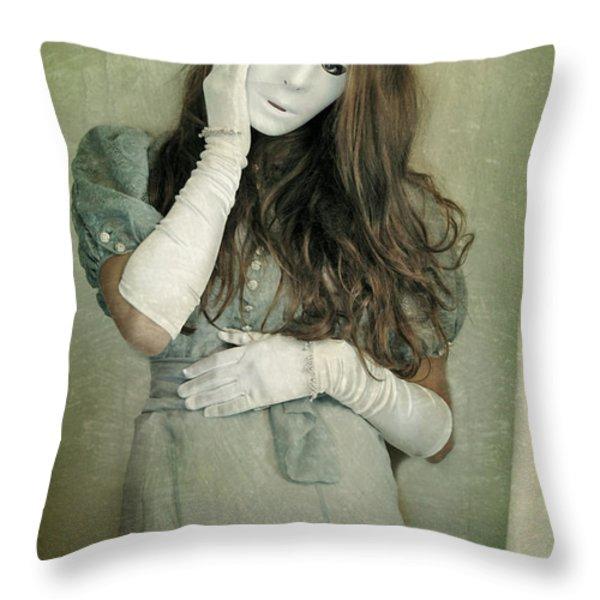 Woman in White Mask Wearing 1930s Dress Throw Pillow by Jill Battaglia