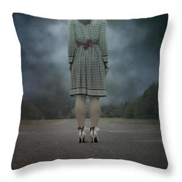Woman On Street Throw Pillow by Joana Kruse