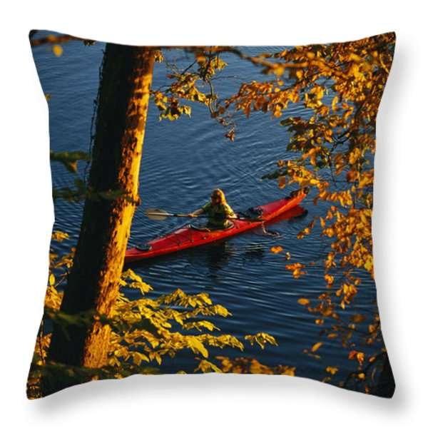 Woman Seakayaking On The Potomac River Throw Pillow by Skip Brown